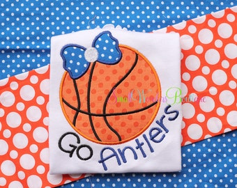 Basketball Embroidered Shirt - Made To Match Team - Basketball - Bow Basketball Shirt - Girls Basketball Shirt- Little Sister Basketball