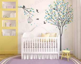 Nursery Tree Wall Decal Birds Decals Bird cage Wall Art Home Decor Baby Kids Room Living Room Bedroom Sticker Large Mural White Removable