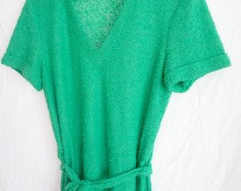 Green Dress Vintage 1960s Summer Short Sleeves Button Detail belted Women