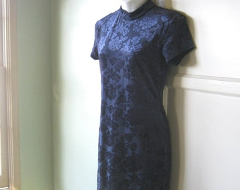 1990s Glam Cobalt Blue Sheath Dress - Cheongam/Asian-Inspired Long Cobalt Dress; Medium or Small - Glam Retro Cobalt Maxi Dress