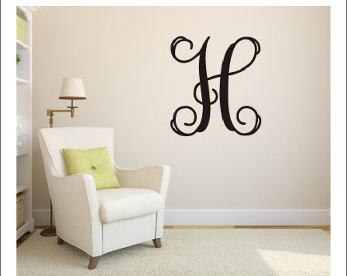 Vine Monogram Decal Wall Decal Single Vine Initial Decal Monogram Decal Personalized Monogram Decal Vinyl Wall Decal Initial Only Decal