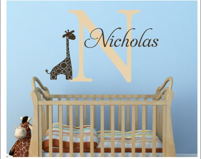 Personalized Giraffe Wall Decal Vinyl Decal Wall Decal Baby Boy Girl Nursery Decal Bedroom Decal Giraffe Jungle Theme Decal Children Kids
