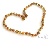 Unpolished Baltic Amber Baby Teething Necklace Rounded Multicolor Beads