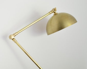 Loretta • black walnut & solid brass articulating table lamp with cloth covered cord
