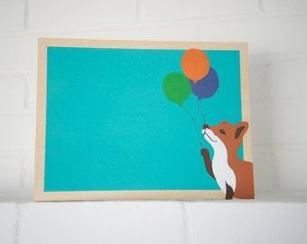 Chalkboard - Fox Holding Balloons