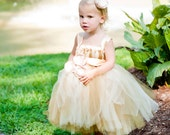 Flower Girl Tutu Dress Empire Waist Babydoll Style with Satin Sash Antique Gold and Champagne and Satin Flower Hair Clip CUSTOMIZABLE