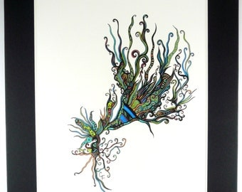 """Abstract pen and ink drawing, multi colored swirling design """"Craze"""""""
