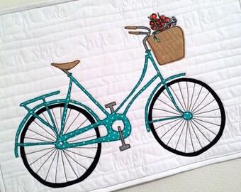 Bike in Style - Aqua Bike Art Quilt