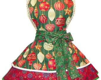 2015 Green Christmas Ornaments Apron - A Tie Me Up Aprons Exclusive; Limited Edition of 2