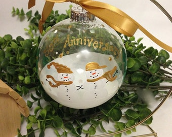 50th or 25th Wedding Anniversary Ornament Snowmen Couple Customized Personalized