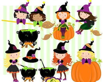 Halloween Cute Witches digital clipart set,Halloween Digital Clip Art HLCHERRY0001-Personal and Commercial Use