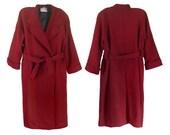 Vintage 4X Plus Size Coat Long Wool Coat Women Winter Coat Burgundy Coat Double Breasted Coat Belted Coat Ladies Coat Long Winter Coat