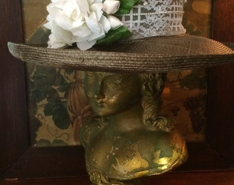 Vintage Sonni of San Francisco Straw Hat Embellished with Lace, Faux Pearls and Lace Glove - Fantasy and Whimsy