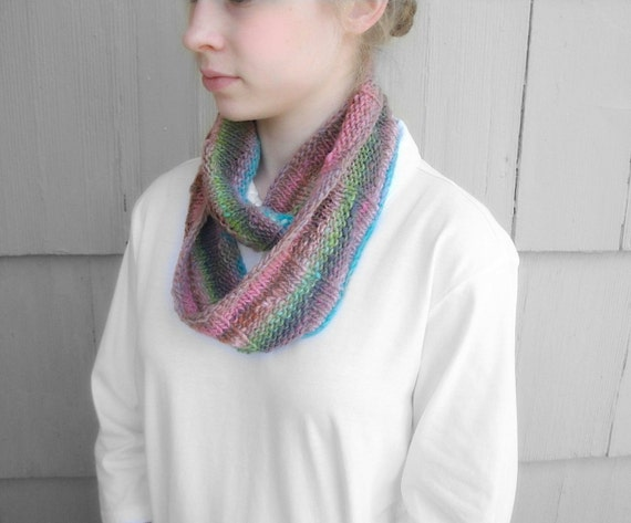 Infinity Scarf Knitting Pattern Thin Yarn : Thin Infinity Scarf Geometric Striped Multicolor Knit Cowl