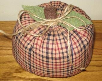SALE Fabric Pumpkin - Red/Blue Homespun Fabric - Halloween Pumpkin - Fall Decor - Thanksgiving Decor - Hostess Gift