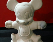 Vintage Unpainted Ceramic Bisque Disney Baby Mickey Mouse character figurine