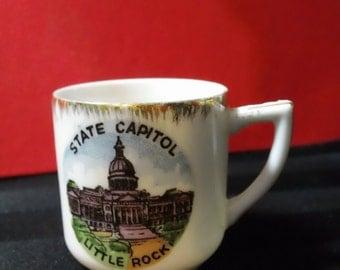 Vintage Little Rock Arkansas State Capitol Souvenir porcelain Mini Mug with gold trim