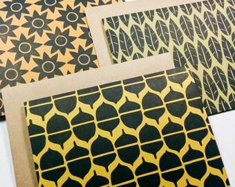 Blank note card set (6), autumn cards, handmade greeting cards, linocut cards, autumn wedding cards, autumn greeting cards, birthday cards