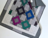 Geometric Baby Quilt, Modern Baby Quilt, Baby Quilt, Quilted Wall Hanging, Grey Baby Bedding