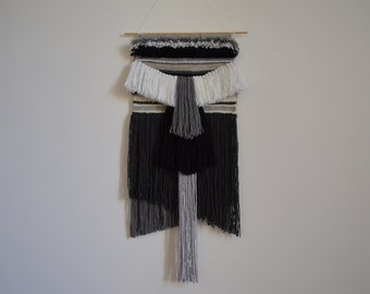 Large Weaving- wall hanging- hand woven in Grey