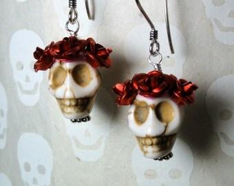 Dia de los Muertos Earrings - White Skull w/ Red Flowers