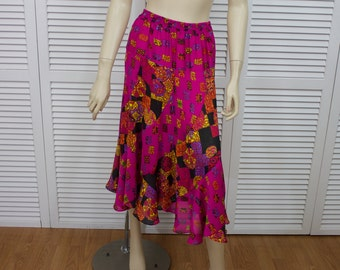 Vintage 1980s Long Skirt Size Small Pink