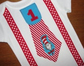 Boys First Birthday Bodysuit Cat in the Hat Tie with Red Dot Suspenders, Dr. Seuss Party Shirt, Baby Boy Clothing, Boy 1st Birthday Outfit