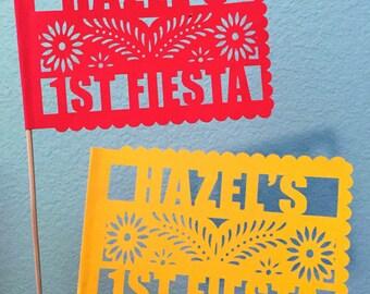 10 Cardstock Personalized Banderitas - Names & Date - Wedding - Fiesta - Favors - Decor