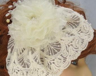Bridal Fascinator, Veil Set, Lace Pearl Mini Veil, Detachable Fascinator, REX14-2063