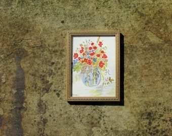 1980s Still Life Painting of a Vase of Flowers Signed J A Hall Gold Frame Original Art Wall Hanging Home Decor
