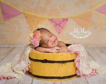 Pink and Yellow flower headband, baby headbands, rosette headbands, newborn headbands, summer headbands, photography prop