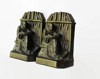 Galvano Bronze Bookends, Monk, Books, Gantz, 1920s, Arts and Crafts