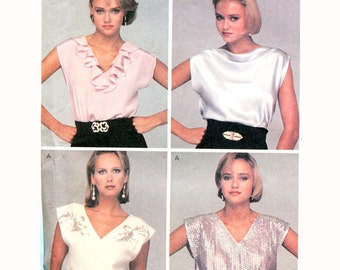 1980s Pullover Tops Sewing Patterns McCalls 8863 Cap Sleeves Size Med or Large UNCUT