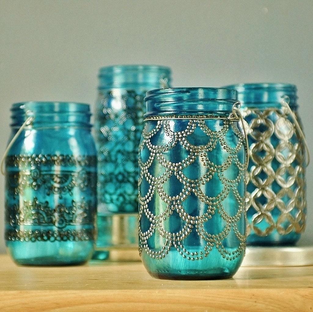 Hanging moroccan lantern mason jar candle holder with Home decor lanterns