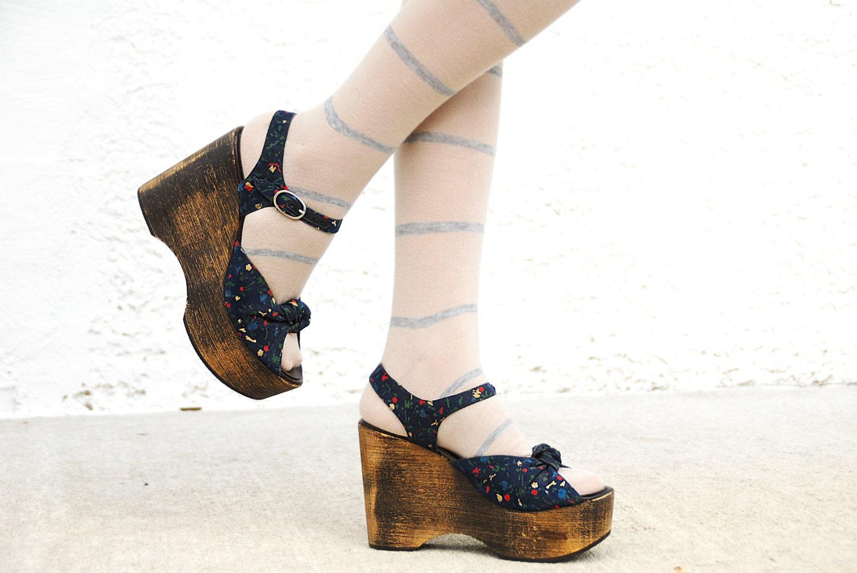 wooden platform shoes wood sandals blue floral heels