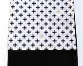 Black and White Baby Blanket, Cross Baby Blanket, Plus Sign Minky Blanket, Black and Gold Baby Blanket, Four Corners White Weave Sparkle