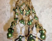 "Vintage West German Green Mercury Glass & Gold Wire 4 1/2"" Bell Christmas Ornament"