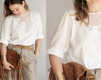 vintage cotton lace blouse, white embroidered blouse,openwork blouse,cutwork shirt,white shirt in coton,bali blouse,bohemian embroidered top