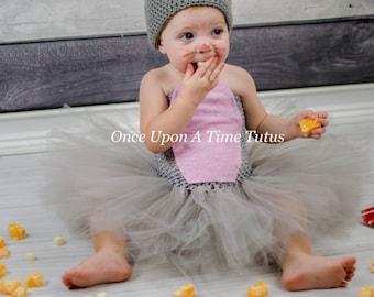 Little Mouse Gray Pink Tutu Dress - Newborn 3 6 9 12 18 24 Months 2T 3T 4 5 6 - Grey Light Pink Cute Tiny Baby Animal Halloween Costume