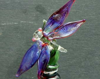 Stopper Dragonfly Glass, Stainless Steel Art Wine Bottle Stopper, Hand Blown Lampwork Glass  Purple