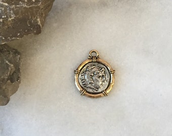 Coin Charm, Roman Coin Pendant, Two Tone Jewelry, Coins, Coin Charms, Roman Coin, Roman Coins, Pewter Charm (SILVER on GOLD)