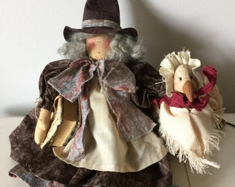 Vintage Handmade Mother Goose Nursery Rhyme Doll with Goose Primitive Country Folk Art Doll