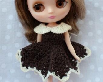 Crochet Middie Blythe Dress Brown & Cream.
