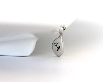 minimalist jewelry | tiny silver tear drop leaf print pendant | fine silver pendant | sterling silver chain | artisan jewelry | girlthree