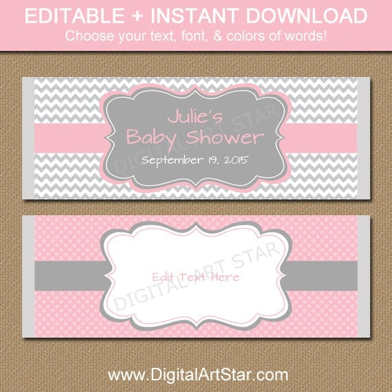 Editable chocolate bar wrappers printable candy bar for Candy bar wrappers template for baby shower printable free