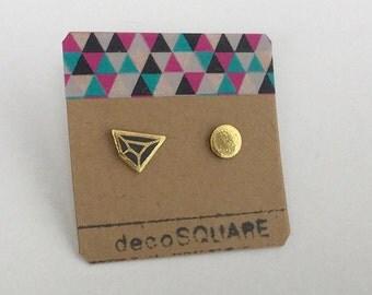Porcelain earrings, asymmetrical stud earrings- black gold small geometric earrings, studs, gift for her