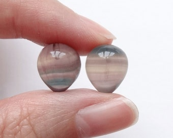 Banded Fluorite Upside Down Half Drilled Acorn Inverted Tear Drops 10x12 mm One Pair G5477