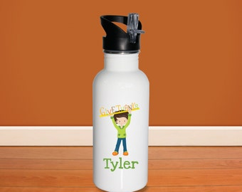 Thanks Kids Water Bottle - Give Thanks Boy with Name, Child Personalized Stainless Steel Bottle BPA Free Back to School