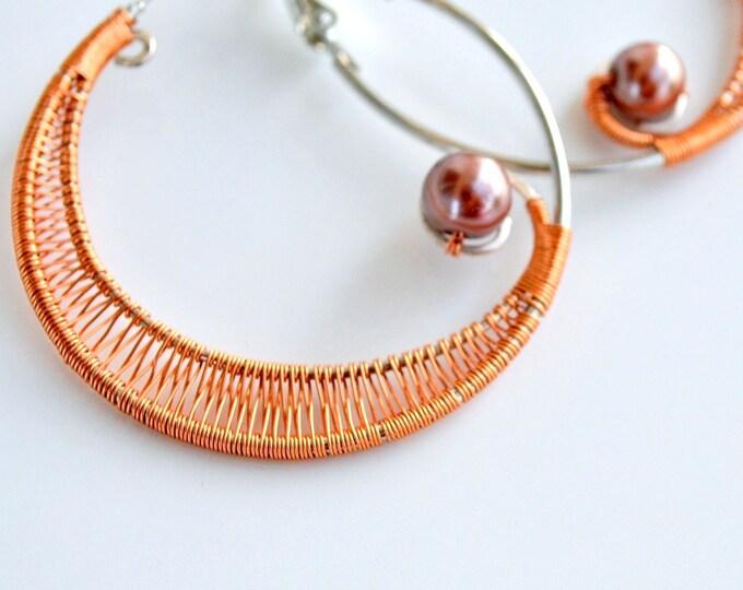 Hoop earrings ~ Wire wrapped ~ Handmade Jewelry