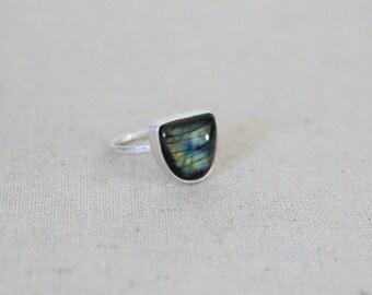 Labradorite Ring, Sterling Silver Ring, Size 6 US, Stone Ring